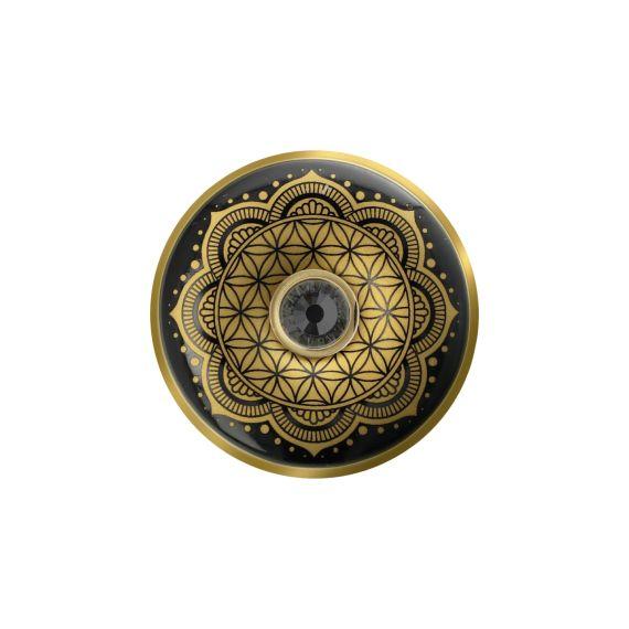 Produktbild von Blume des Lebens Schwarz - Brosche Lotus Yin Yang