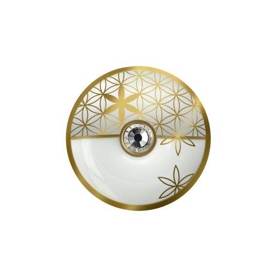 Produktbild von Blume des Lebens Weiß - Brosche Lotus Yin Yang