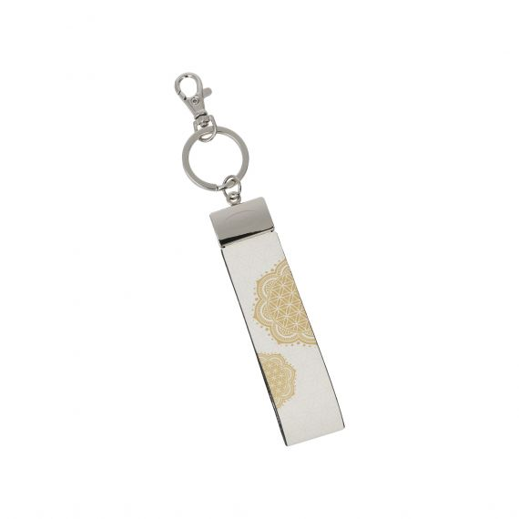 Produktbild von Blume des Lebens Weiß - Schlüsselband Lotus Yin Yang
