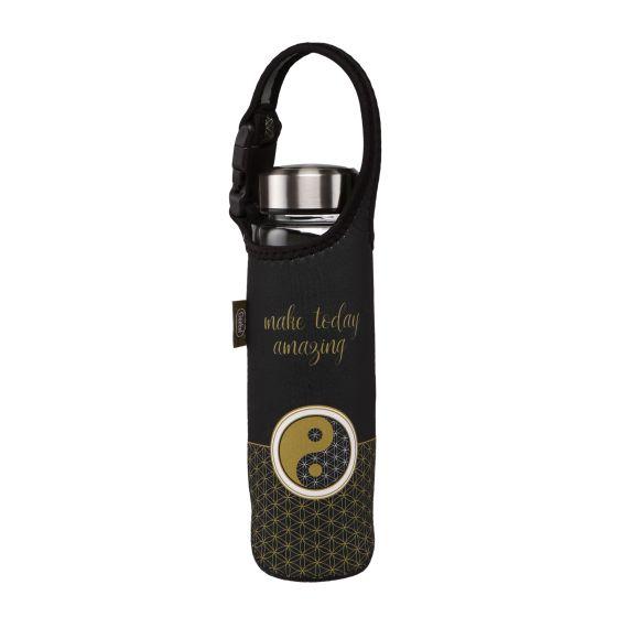 Produktbild von Glasflasche mit Neoprenhülle Ying Yang schwarz Lotus
