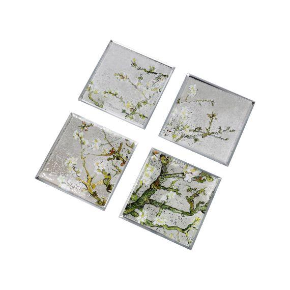 Produktbild von Untersetzer Set Mandelbaum silber 10x10 cm Artis Orbis Vincent van Gogh